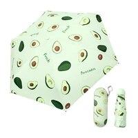 mini capsule umbrella cartoon fruit avocado anti uv upf50 folding pocket umbrella 6k parasol small paraguas