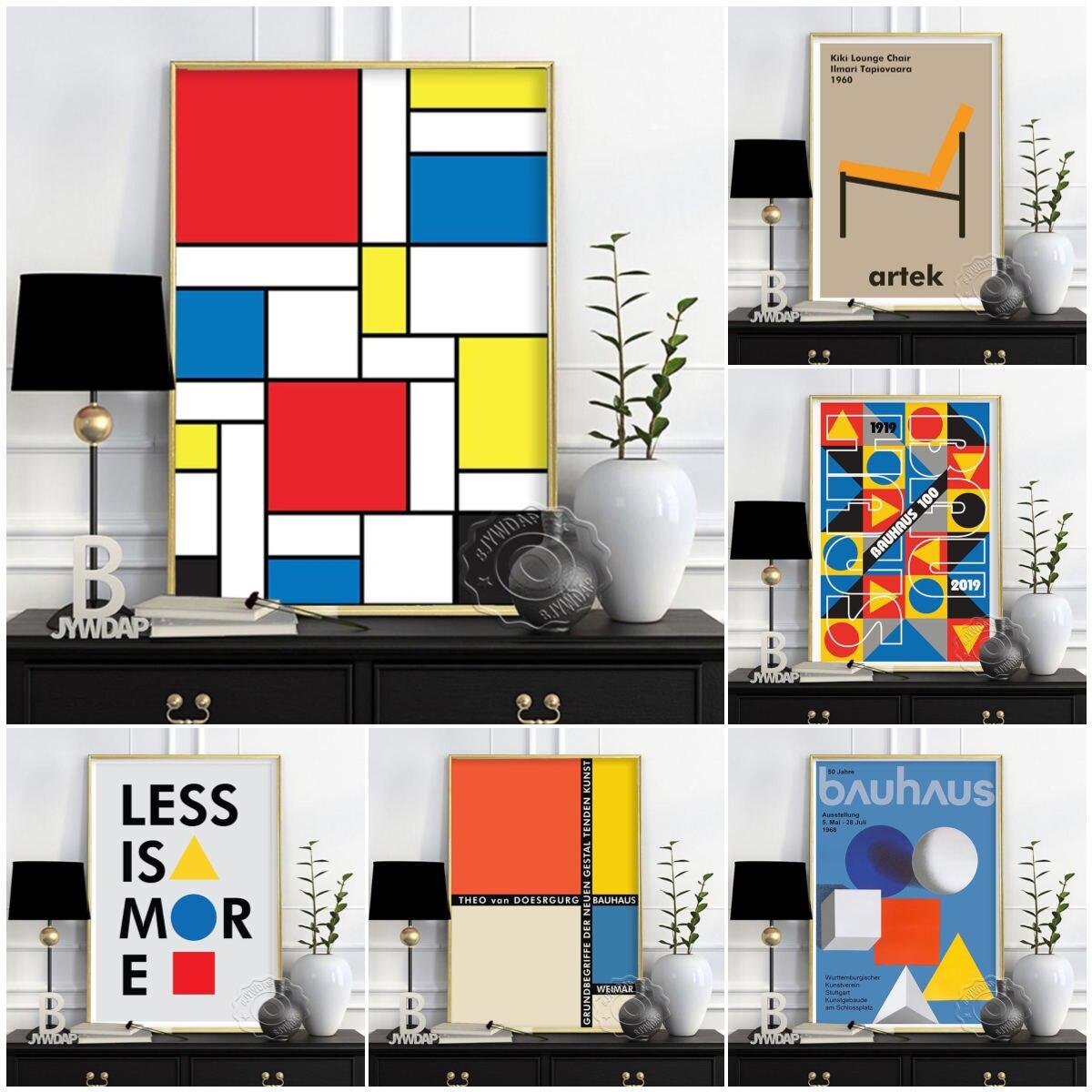 Стильный настенный Декор Bauhaus, меньше-больше постеров, печать постера на 100-ю годовщину, Классические Постеры, фотогалерея,
