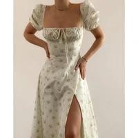peling 2021 fashion floral printed spring summer dress casual beach women vintage ruffles boho dress robe femme dresses vestidos