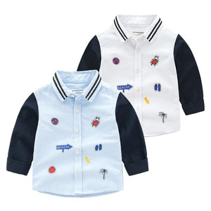 2 3 4 5 6 7 Y Baby Boys Blouses Cartoon Patchwork Cute Print Shirt for Boy Kids Casual Lapel Long Sleeve Shirts Child Top Autumn