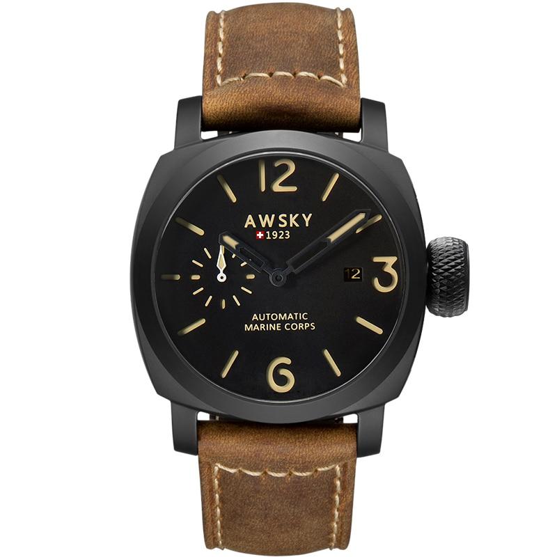 ساعة رجالية عسكرية ، بوصلة ميكانيكية أوتوماتيكية ، حزام بني ، 300 متر ، مقاومة للماء ، ستانلس ستيل ، أسود