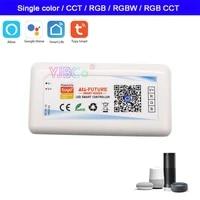 tuya smart wifi led controller dc5 24v single colorcctrgbrgbwrgbcct led strip change dimmer app alexa google home voice