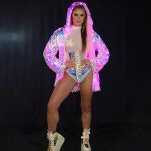 Rave Party Led Light Up Lovertjes Jacket Voor Vrouwen Leuke Meisjes Sequin Rainbow Kleurrijke Light Up Led Hooded Jassen Plus size