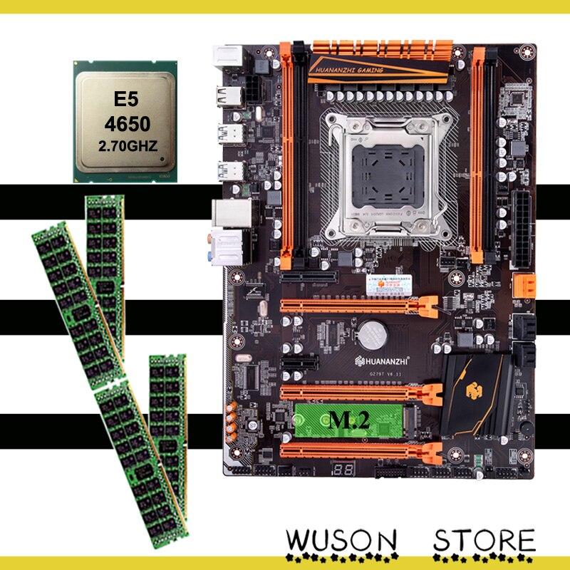HUANANZHI X79 ديلوكس اللوحة الألعاب كومبو مرحبا السرعة NVME M.2 SSD فتحة وحدة المعالجة المركزية إنتل سيون E5 4650 العلامة التجارية الكبيرة رام 32G(4*8G) REG ECC
