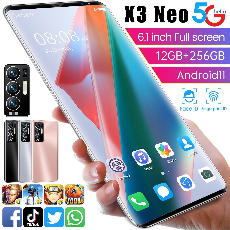 X3 Neo هاتف ذكي Mtk6889 + الإصدار العالمي 12 + 256gb Andriod 11 6000mah الوجه فتح مزدوج سيم + مايكرو Sd 10 Core 32 + 64mp هاتف محمول