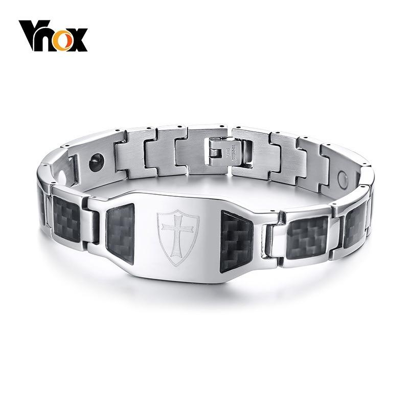 Pulsera magnética de fibra de carbono Vnox de 12mm para hombres, caballeros, escudo templario, Cruz de acero inoxidable, terapia de bioenergía masculina, Pulseira