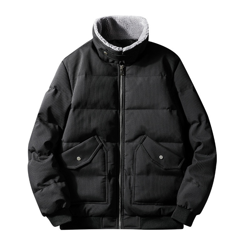 Зимняя хлопковая куртка, Корейская мужская трендовая сетчатая черная Толстая Молодежная приталенная теплая парка с отворотами, пальто, муж...