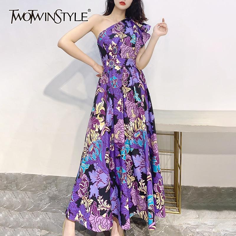 TWOTWINSTYLE طباعة فستان للنساء قطري طوق قصيرة الأكمام واحد الكتف قبالة عالية الخصر ضرب اللون فساتين متوسطة الطول الإناث الصيف