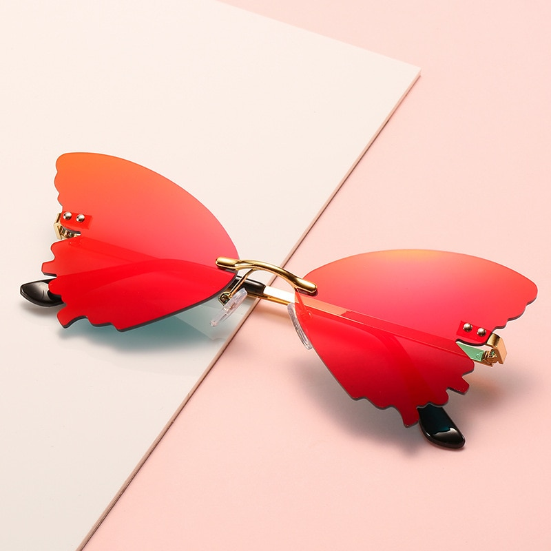 2021 Butterfly Rimless Sunglasses European and American Fashion Trend Funny Sunglasses Female Driver