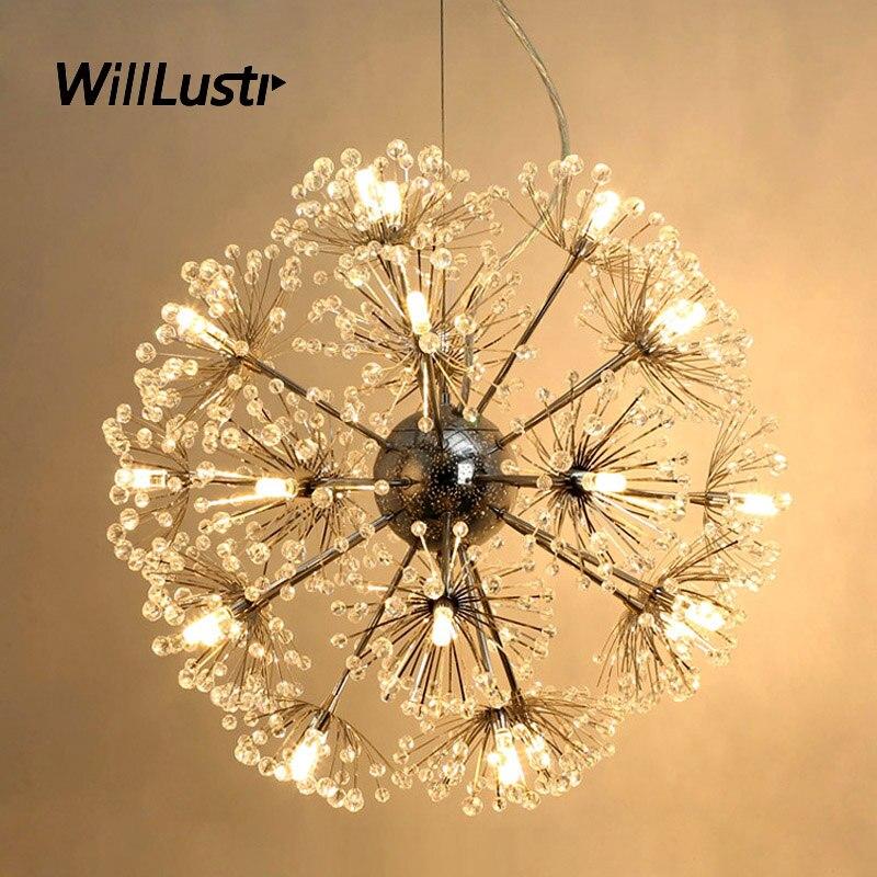 K9 مصباح LED معلق من الكريستال الهندباء ، منتج فاخر ، إضاءة زخرفية داخلية ، مثالي لغرفة المعيشة أو غرفة النوم أو الفندق أو المطعم.