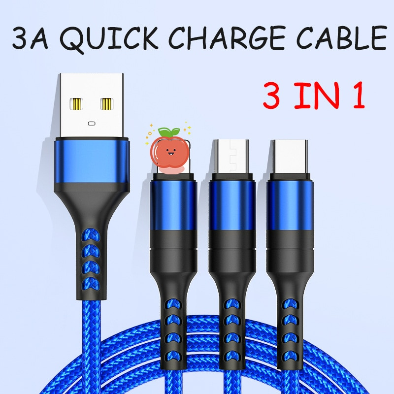 3 In1 Type C USB Micro Cable 8 Pin Multi Charger Cable for Samsung Xiaomi Huawei Mobile Phone Usb Ca