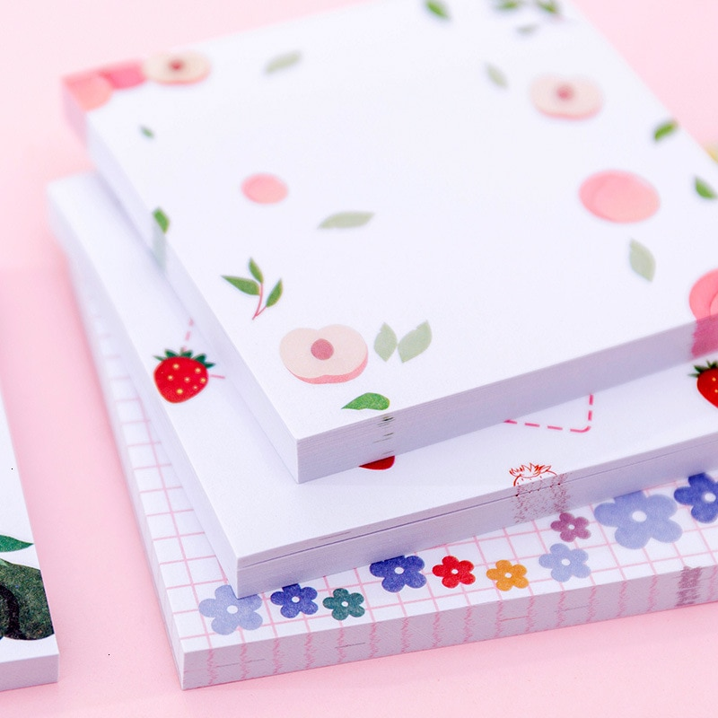 Bloc de notas creativo de flor Kawaii, notas adhesivas para estudiantes, Bloc de notas de Friut, planificador de oficina, decoración escolar, suministros estacionarios 02141