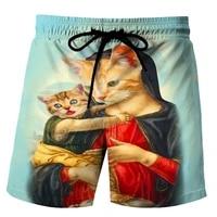latest printed cat mens swimsuit surfing shorts casual beach hip hop shorts hawaiian style shorts