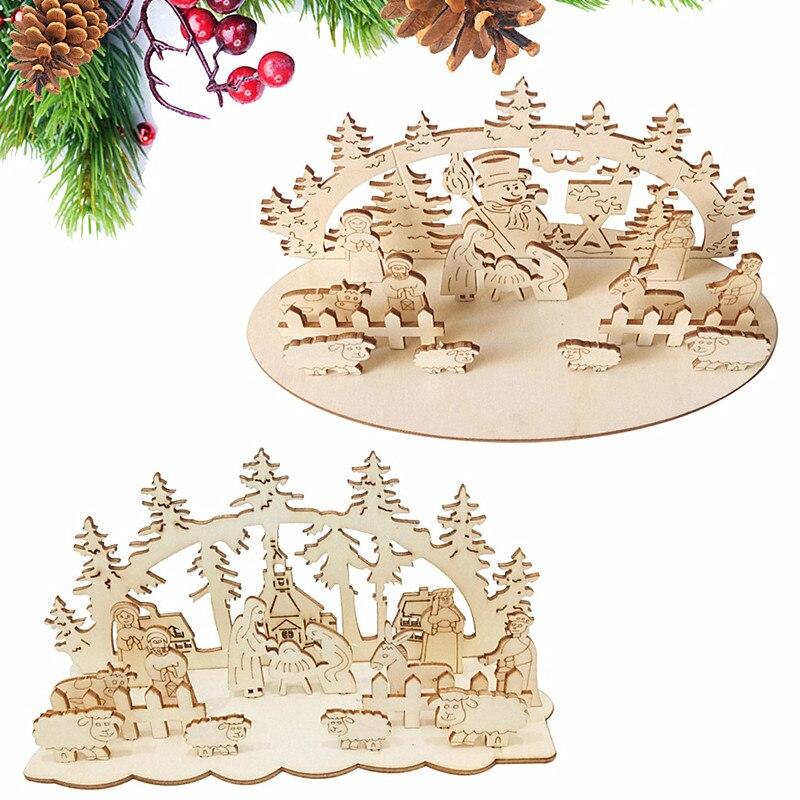 Juguete de madera DIY de Navidad, decoración divertida de escritorio para fiesta, adornos de madera, juguete tridimensional para niños, decoración A327