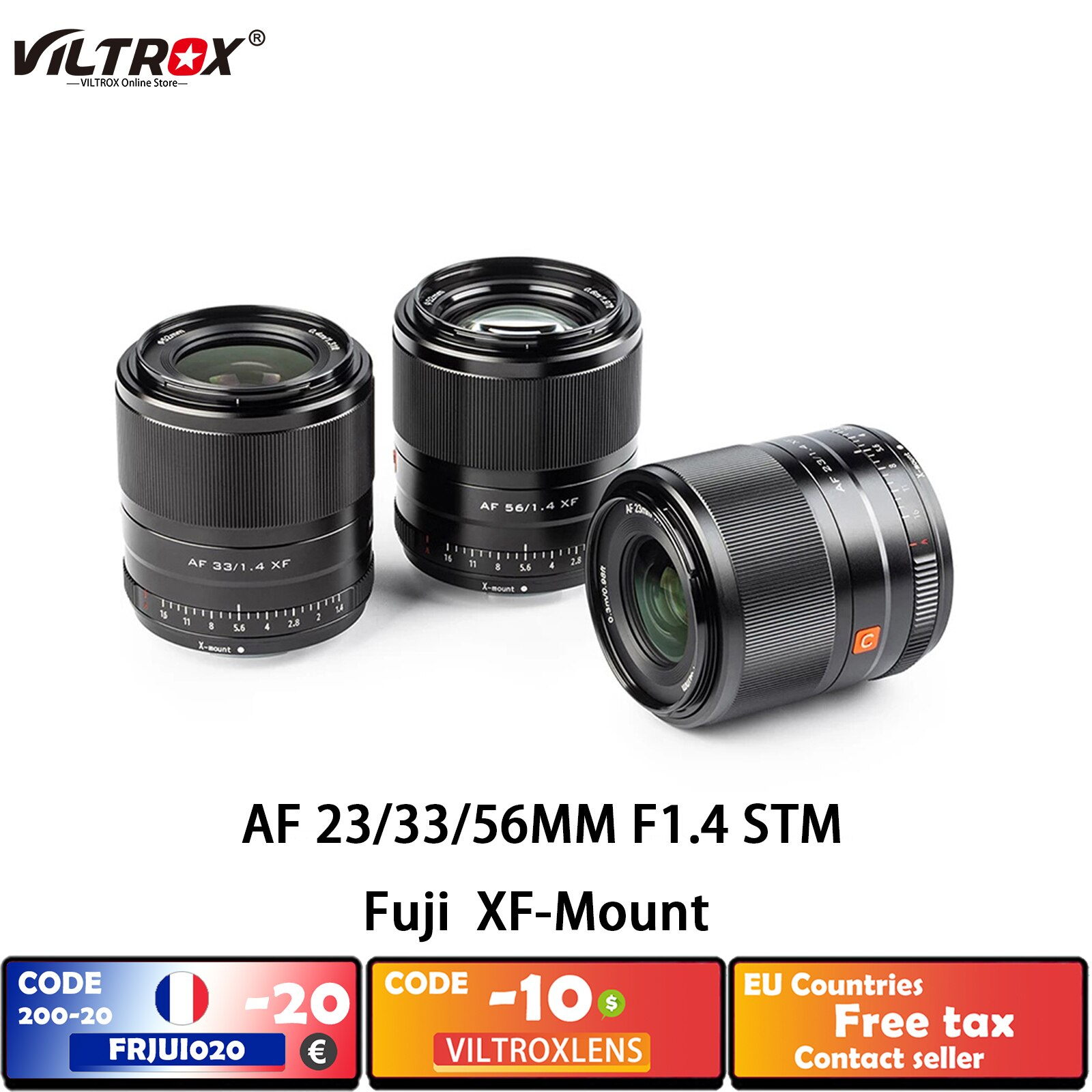 VILTROX 23 мм, 33 мм, 56 мм, F1.4, XF, автофокус, Большая диафрагма, объектив для fujifilm fuji X, штатив для фотоаппарата X20, T30, X-Pro2