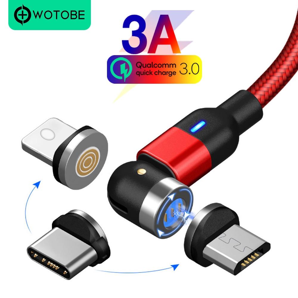 90 ° que gerencie o cabo de carregamento magnético 3a do usb que carrega rapidamente o cabo de dados do micro usb 8-pin do ímã do fio de usb c para o telefone móvel