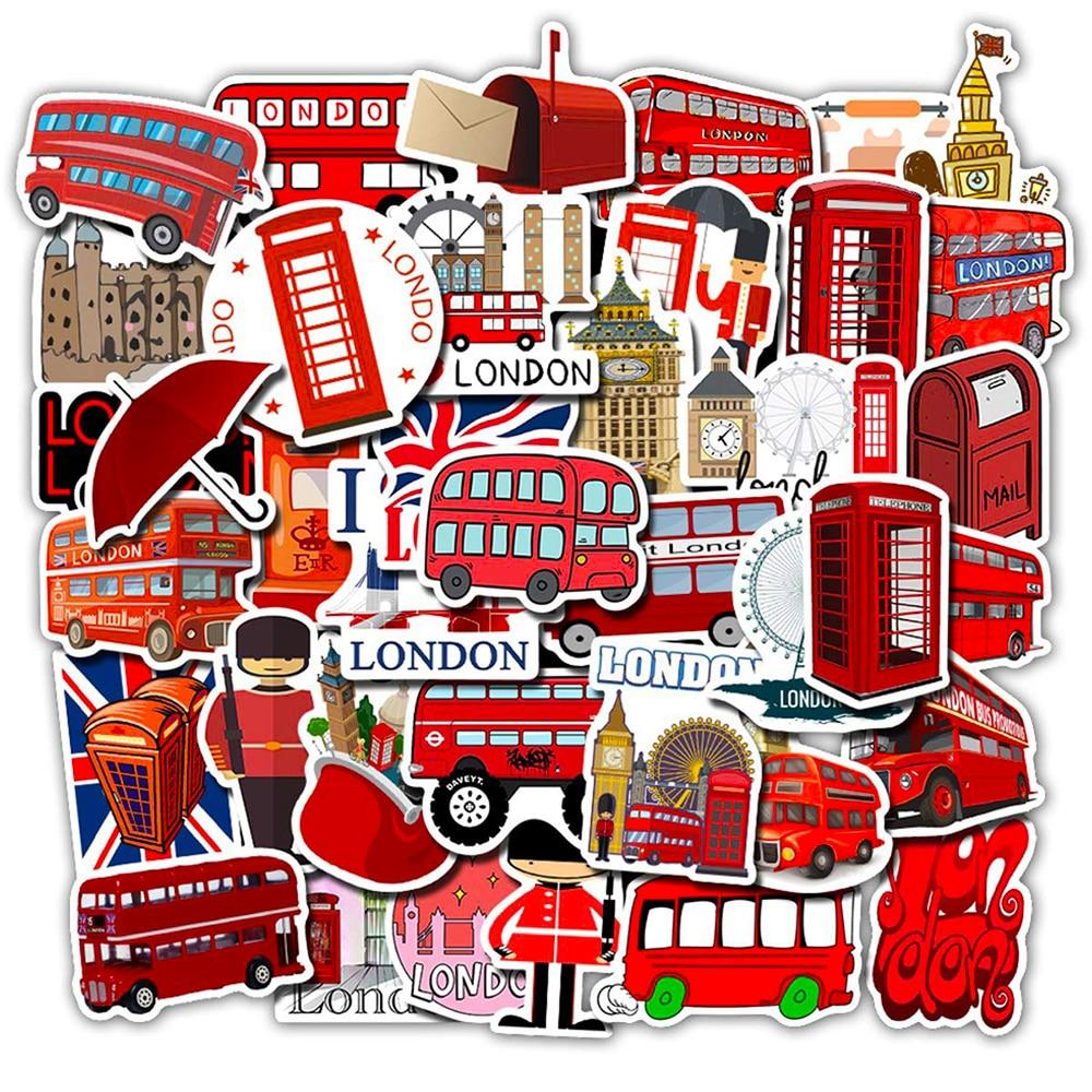 50 Uds London Bus pegatinas de dibujos animados monopatín DIY maleta para guitarra congelador Graffiti equipaje motocicleta juguete clásico pegatinas frescas