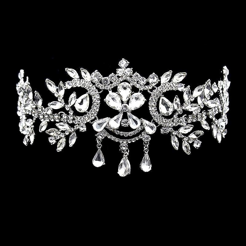 Fashion Wedding Hair Accessories Luxury Crystal Bridal Headpiece Rhinestone Tiara And Crown Forehead Headband Women Head Chain
