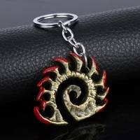hot starcraft game keychain wings of liberty terran zerg protoss 3d logo metal keychains for men jewelry
