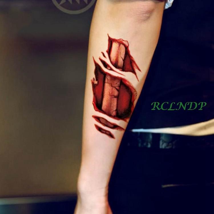 Tatuaje temporal a prueba de agua pegatina 3D Halloween hueso cráneo rojo sangrado labio mano tatuaje pegatinas flash tatuaje falso tatuajes para hombres 7