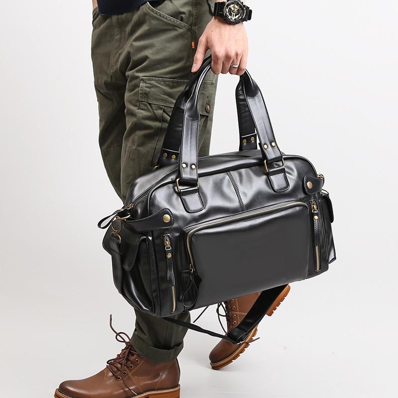 Bags for Men 2020 New Retro PU Leather Portable  Bag Big Bag Foreign Trade  Shoulder Messenger Bag Travel Bag  Shoulder Bag