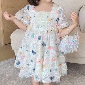 Dress 2021 New Summer Dresses For Girls Party Dress Butterfly Print Lace Mesh Wedding Dress Evening Dresses Princess Dress