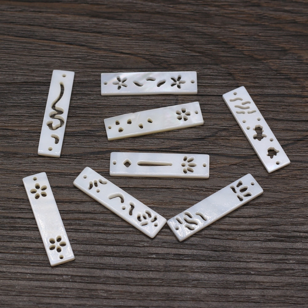 5pcs/lot Charms Natural Shell Beads Rectangle Shape Natural White Shell Beads for Women Making DIY Jewelry Necklace Gift недорого