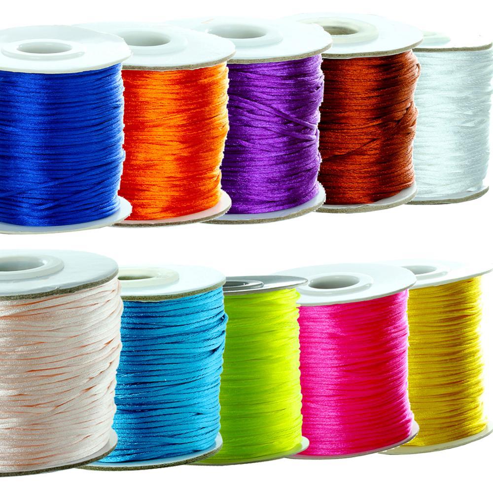 80yards jewelri make nylon cord satin cord satin thread macrame cord beading thread cord jewelri kumihimo rattail cord Wholesale
