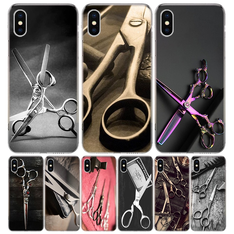 Tesoura de cabeleireiro escova capa para iphone 11 pro 7 6x8 6s plus xs max + xr 5S se 10 9 arte tpu capa capa