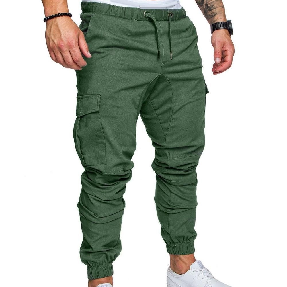 Fashion Men Casual Solid Color Pockets Waist Drawstring Ankle Tied Skinny Cargo Pants Streetwear Pants for Men Slim Trousers