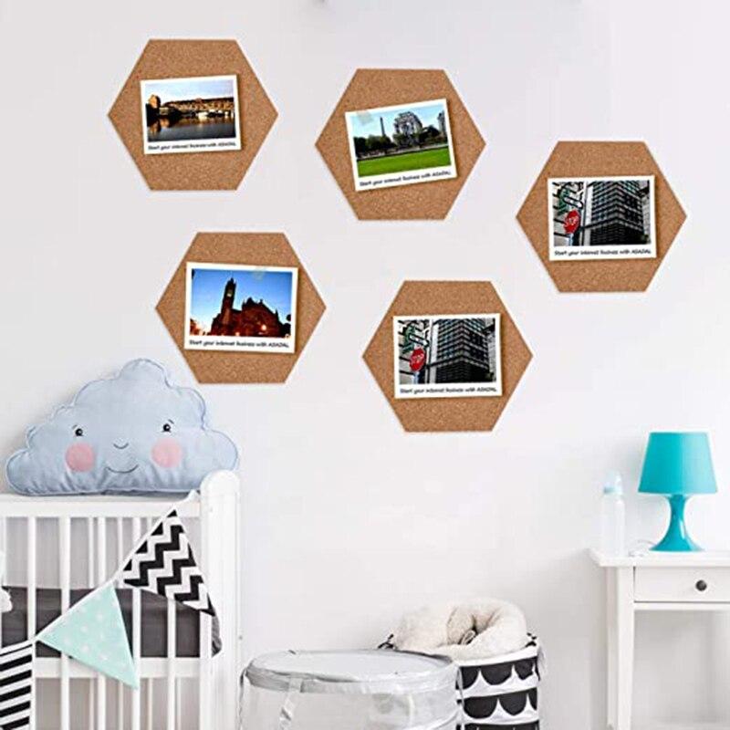 10 unidades de tablero de corcho adhesivo hexagonal grande, Mini tablón de anuncios de pared, tablón de anuncios creativo de moda