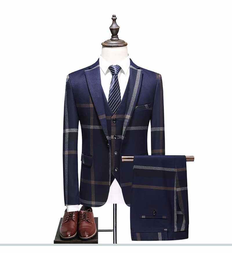 بدلة رجالي من 3 قطع (جاكيت + سترة + بنطلون) مصنوعة حسب الطلب باللون الأزرق من نيفي بدلة مصممة بشكل خياط مناسبة لحفلات الزفاف
