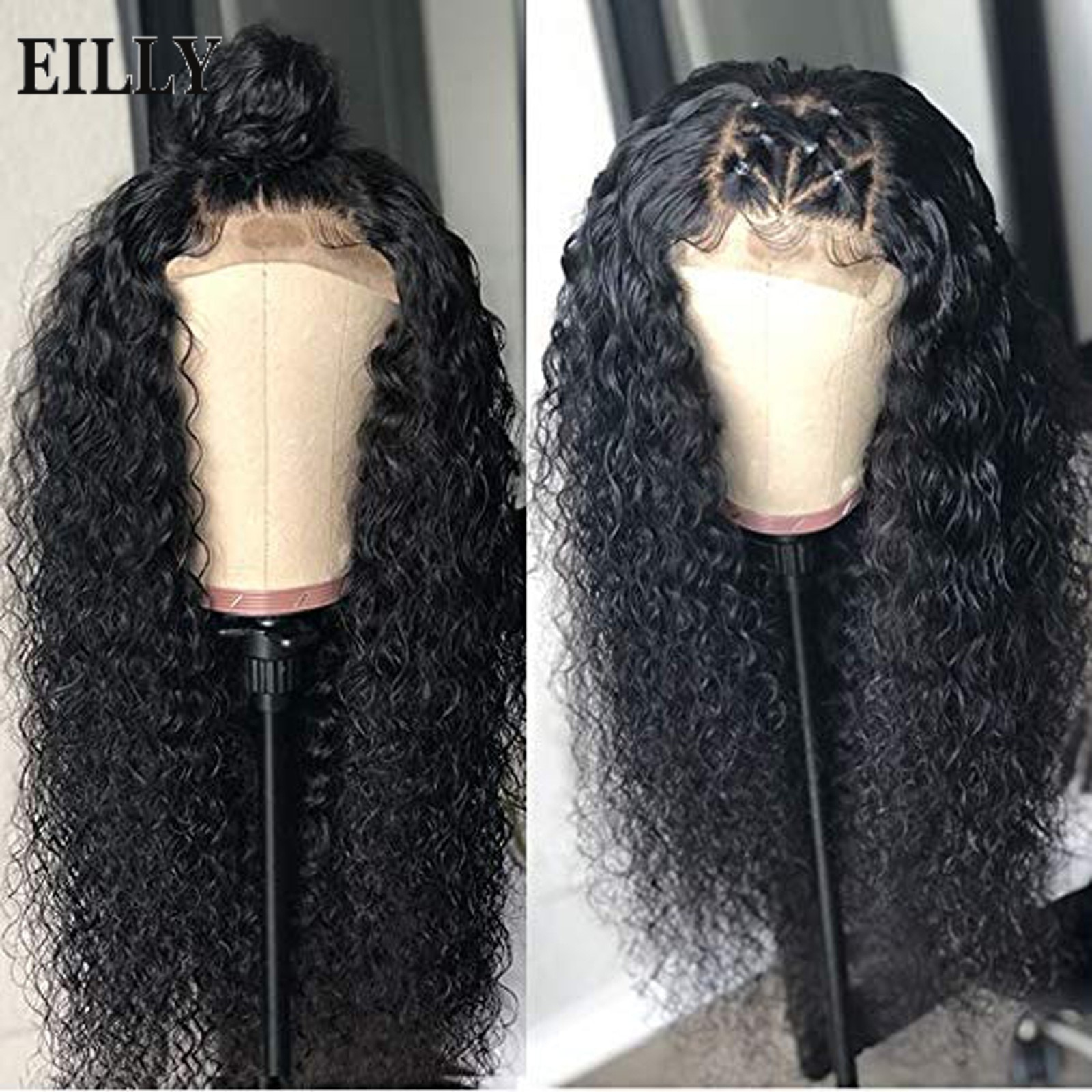 EILLY Deep Curly Wig synthetic Hair Wigs For Black Women water Wave wigs black 24 inch Jerry wave synthetic Hair For Black Women