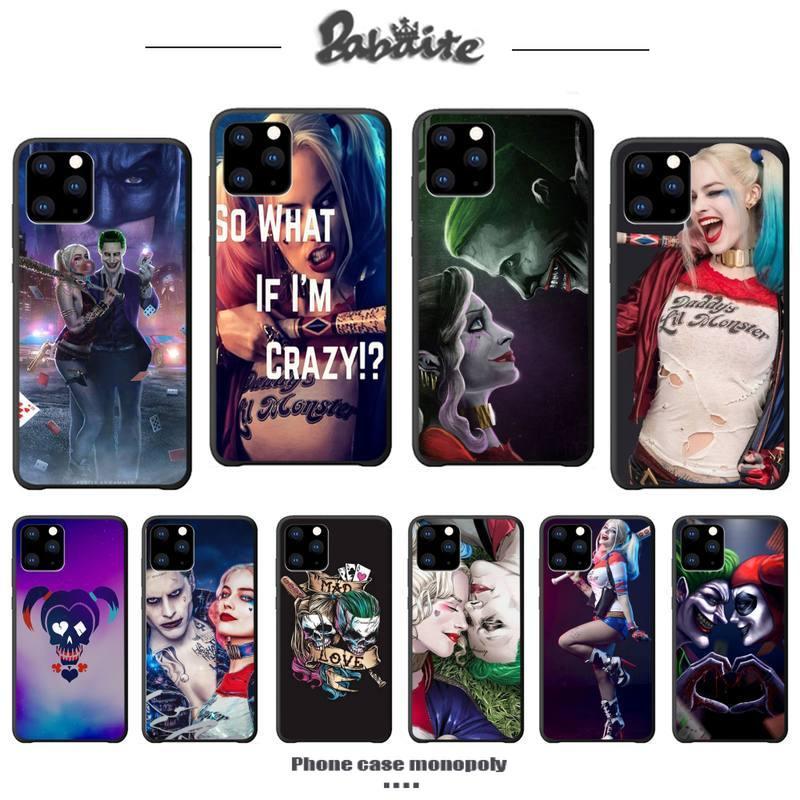 Harley Quinn Joker cubierta de la caja del teléfono de lujo para iphone 5s se 2020 6s 6 7 8 plus x xs x max xr 11 pro max casos de silicona coque