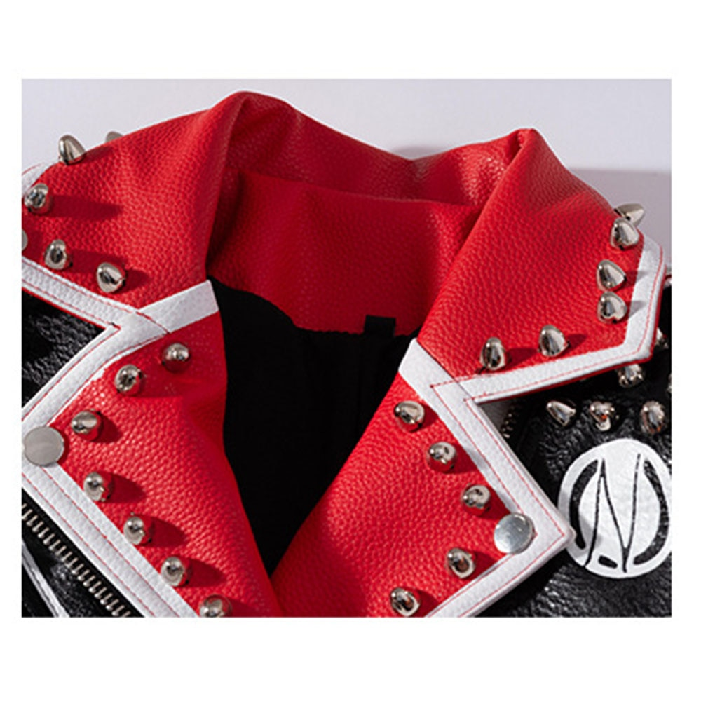 New Women Rivet Beading Pu Graffiti Jacket Hit Color Stud Streetstyle Coat Faux Leather Embroidery Letters Printed Belts Outwear enlarge