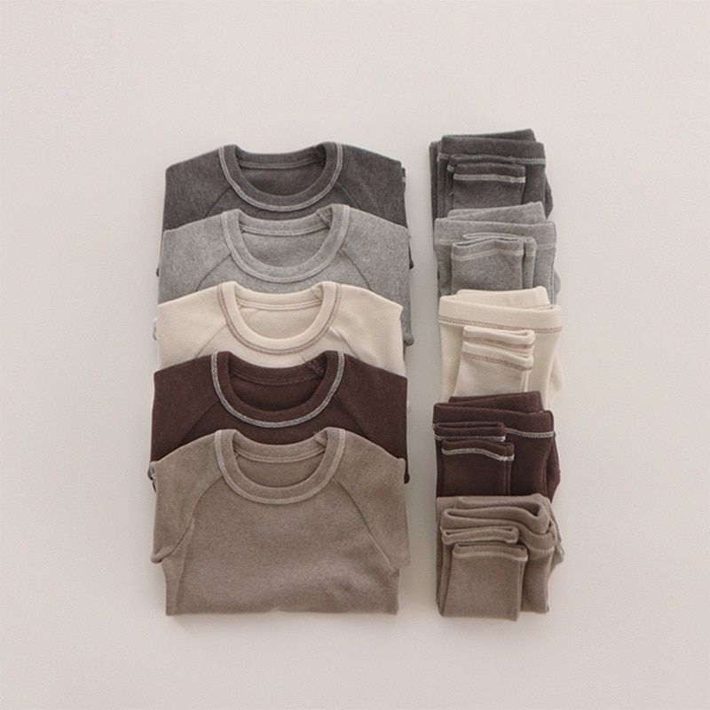 2pcs Baby Solid Color Sleepwear Organic Cotton Kids Pajamas Sets Long Sleeve Tops+Pants Children Clothing Set Boy Girl Clothes