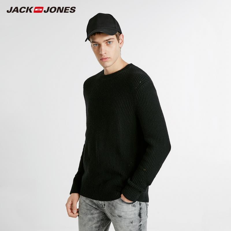 JackJones nueva moda de lana de los hombres Ripped Casual Sweater Basic Top 218424502