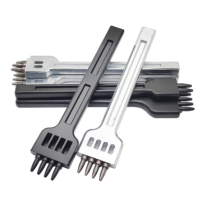 De cuero manualidades, redonda agujero fila golpes de coser a mano de 4/separación de 5/6mm 1mm de diámetro cortador con diseño de costura herramientas/4/6 prong set