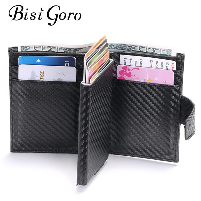 Смарт-кошелек BISI GORO 2020, мужской RFID держатель для карт, алюминиевый сплав, металлический бумажник для кредитных карт, противокражный мужской автоматический Чехол для карт