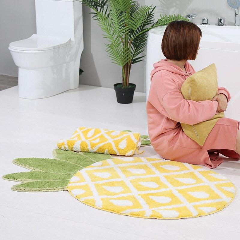 غير النظامية لطيف الأناناس يتدفقون السجاد حصيرة مدخل داخلي ممسحة منطقة البساط Floormat المضادة للانزلاق الكرتون الفاكهة السجاد
