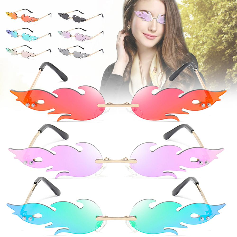 Fire Flame Sunglasses Women Men Rimless Sun Glasses UV 400 Eyewear Streetwear Car Driving Trending N
