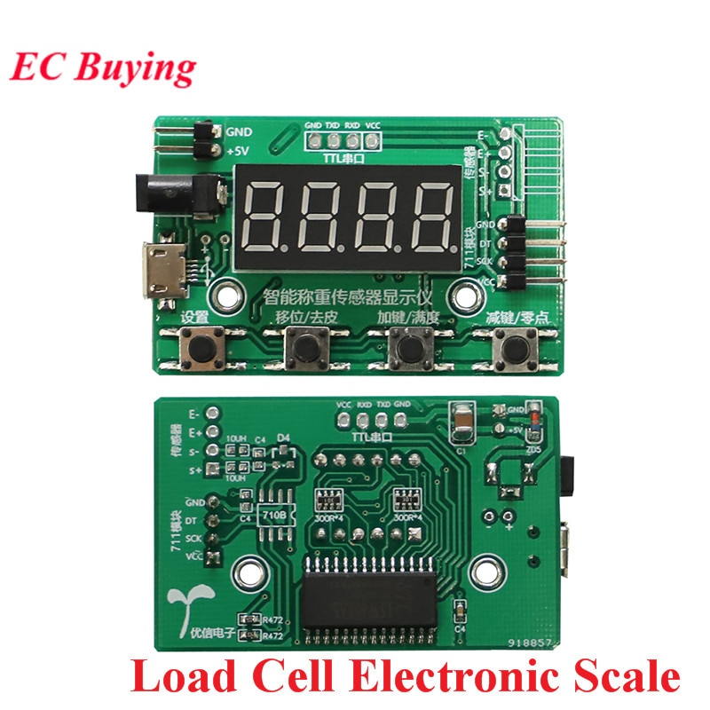 Celda de Carga HX711 AD Módulo Sensor de peso pantalla Digital Escala electrónica sensores de presión de pesaje 1KG 5KG 10KG 20KG instrumento
