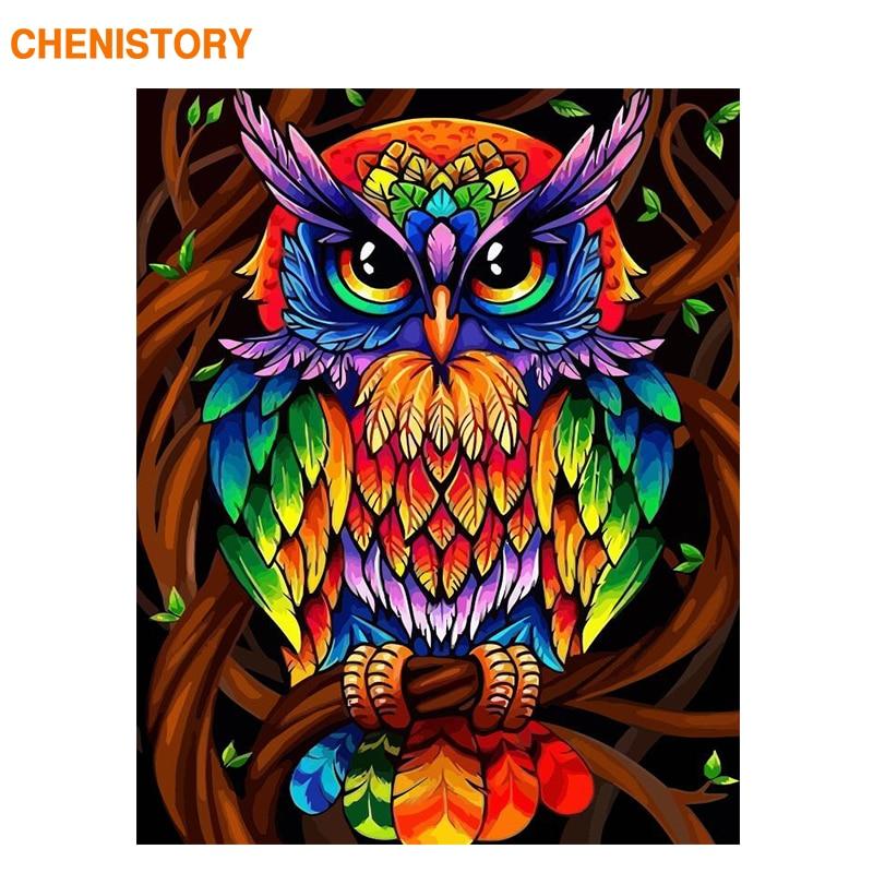 CHENISTORY 60x75cm marco búho de colores animales Diy pintura por números Kit arte de pared moderna pintura acrílica por números para regalo
