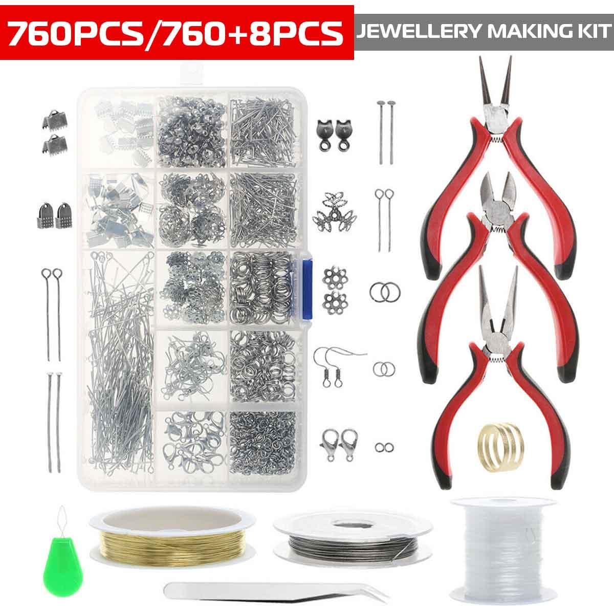 Juego de Herramientas de joyería DIY, alicates para equipo, collar, pendientes, Kit de herramientas de reparación, cuentas, medidas para la fabricación de joyas hechas a mano