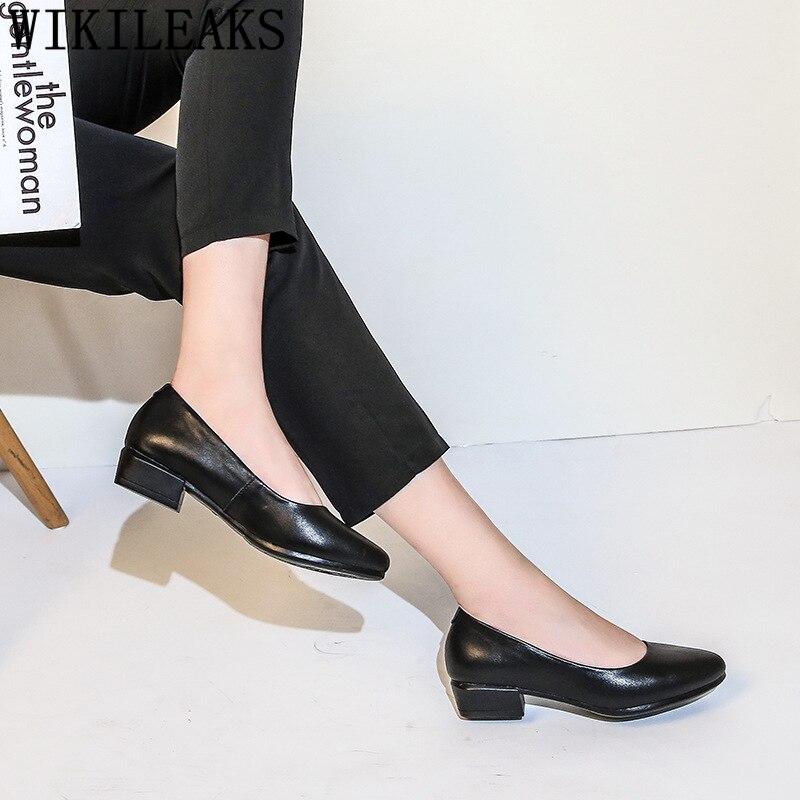 Туфли лодочки на низком каблуке Женская обувь Черные удобные женские туфли