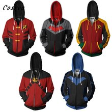 Batman Cosplay Zipper Hoodie Sweatshirts Men Red hood batman hoodie Pullover Tops Mens Robin Costume Jacket Harajuku Coats