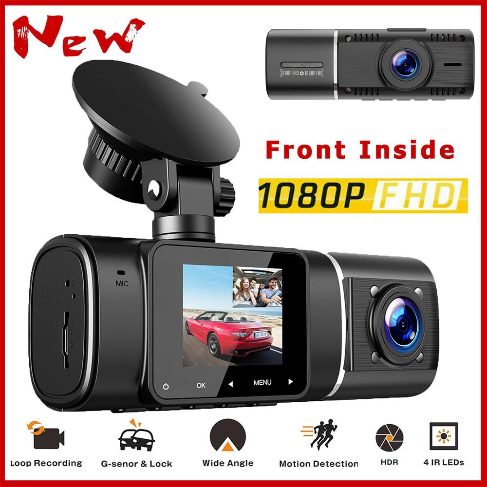 Автомобильный мини-видеорегистратор 1080P с ночным видением, Автомобильный видеорегистратор с двойным объективом, видеорегистратор с ИК ноч...