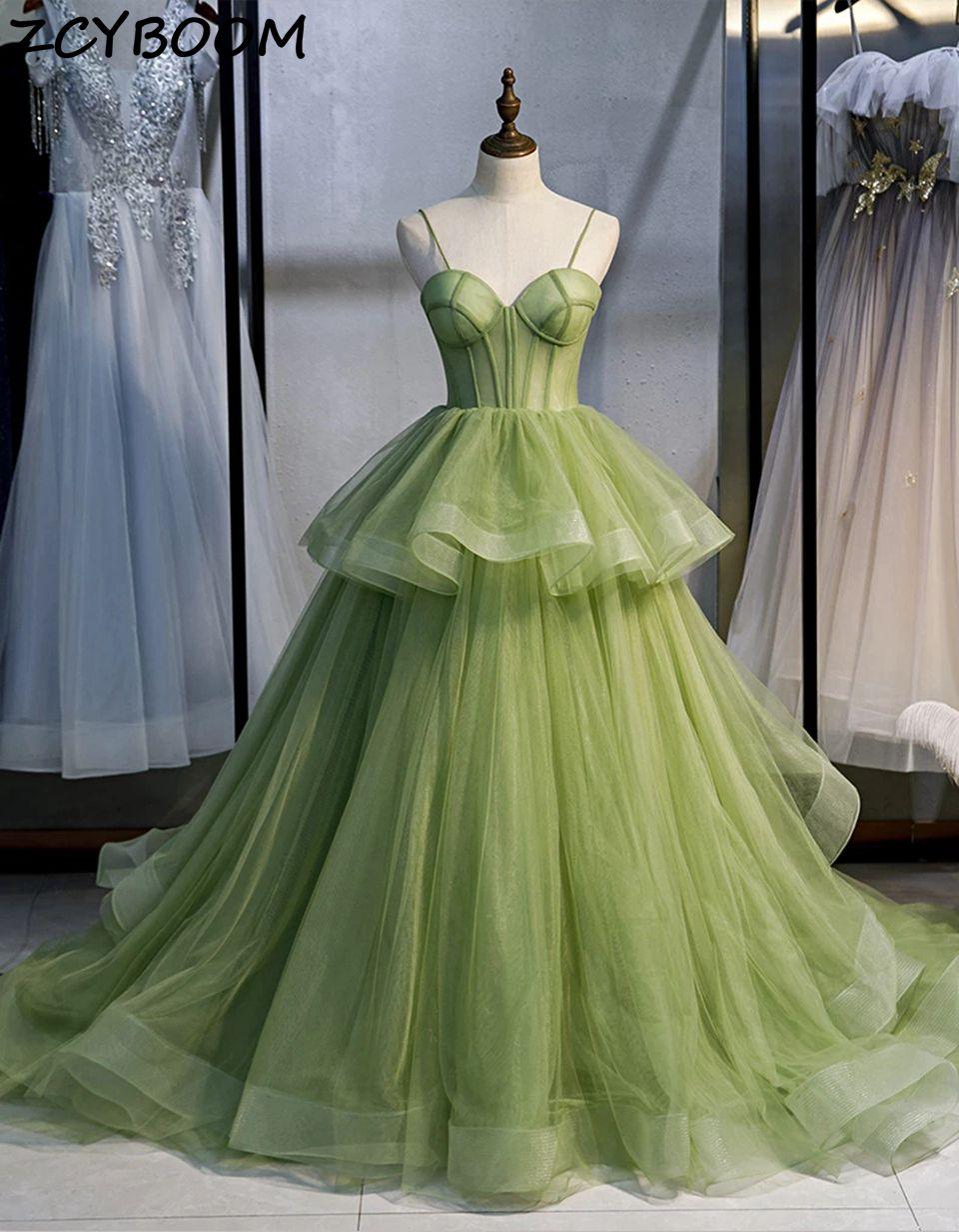 Зеленые трапециевидные платья для выпускного вечера, 2021, женские вечерние платья для торжества, вечерние платья из тюля на бретелях-спагетт...