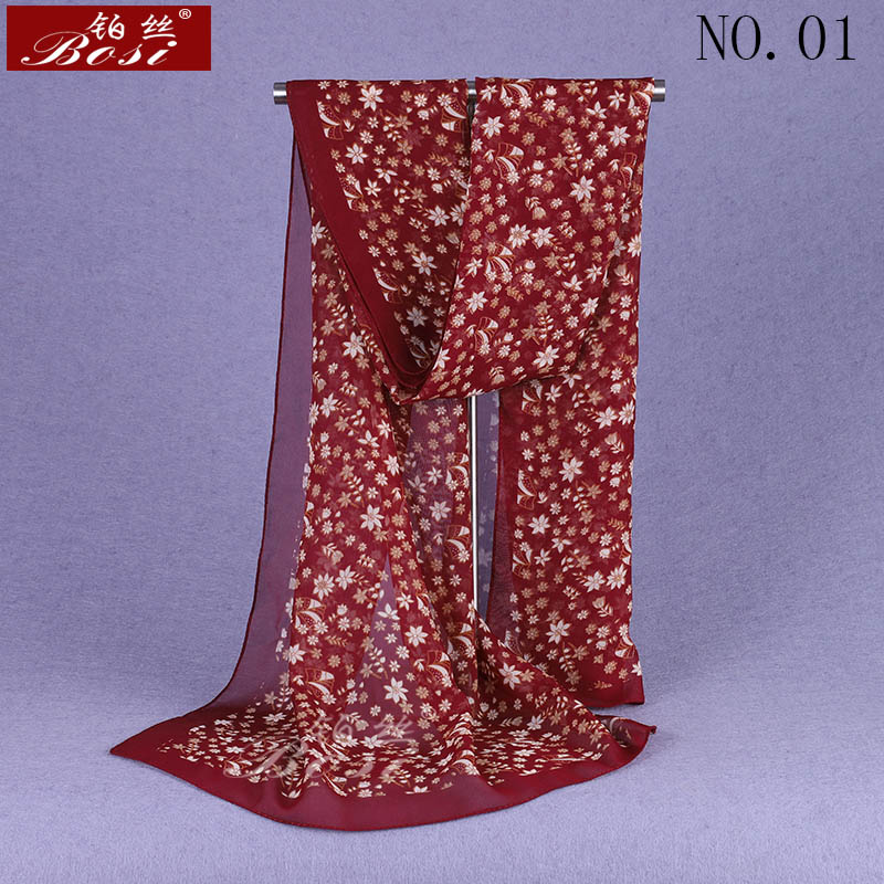 2020 nueva bufanda de gasa de mujer moda Primavera Verano flores bufandas chales finos Foulard estampado Multicolor Hijab estolas al por mayor