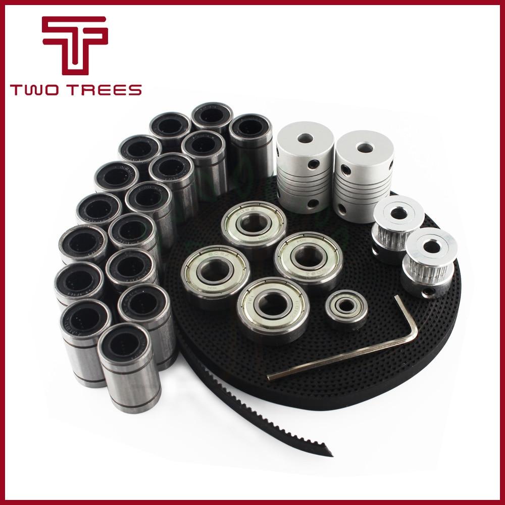 Peças da impressora 3d reprap i3 movimento kit gt2 polia de distribuição da correia 608zz rolamento lm8uu 624zz acoplador 5*8